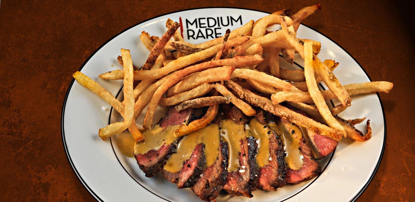 Award-Winning Culotte Steak & Hand-Cut Fries with Secret Sauce. - Medium Rare